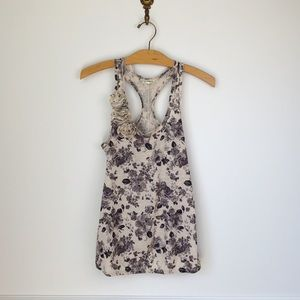Black and Cream White Floral Racerback Tank Top